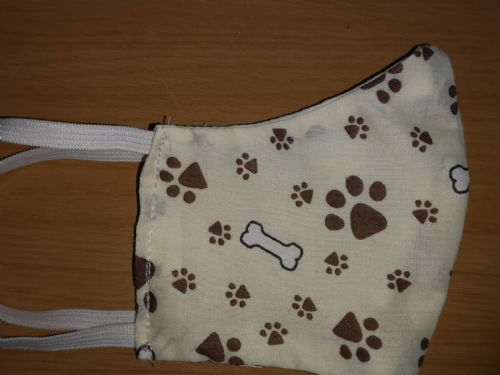 Handmade Breathable Eco Friendly Cotton Face Mask Pawprint Print Adjustable Ribbon Ties Or Elastic